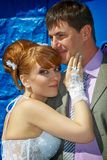 Portrait  redhead  bride and groom Stock Images