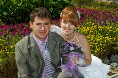 Portrait  redhead  bride and groom Royalty Free Stock Photo
