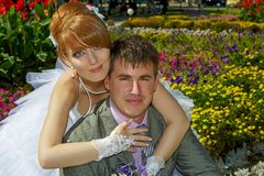 Portrait  redhead  bride and groom Royalty Free Stock Images