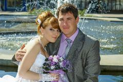 Portrait  redhead  bride and groom Royalty Free Stock Photos