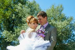 Portrait  redhead  bride and groom Stock Photography
