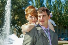 Portrait  redhead  bride and groom Royalty Free Stock Photography