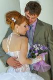 Portrait  redhead  bride and groom Stock Photos