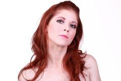 Portrait of redhead caucasian woman bare shoulders Stock Photo