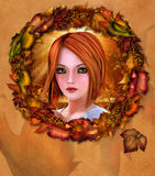 Portrait of redhead girl adorned with autumn wreath Royalty Free Stock Images