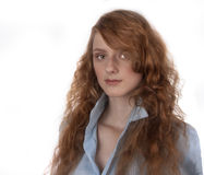 Portrait redhead girl. With long hair Stock Image