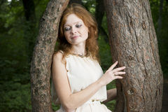Portrait of redhead girl on nature Stock Photo