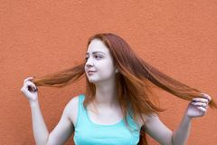 Red hair girl royalty free stock image