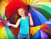 Portrait of a redhead girl with an umbrella Royalty Free Stock Photo