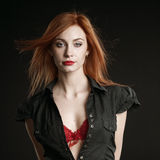 Portrait of redhead woman. Royalty Free Stock Images