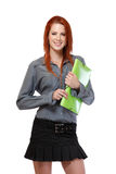 Portrait of a redhead woman with portfolio Royalty Free Stock Photos