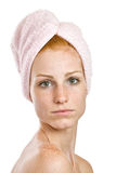 Portrait of a redhead woman in turban Stock Images
