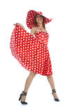 Portrait redheaded with spotted dress Stock Photos