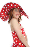 Portrait redheaded with spotted dress Royalty Free Stock Photos