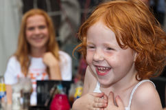 Portrait of a redheaded toddler. BREDA, NETHERLANDS – SEPTEMBER 4, 2011 : Redhead Day for young and old in the Dutch city of Breda. Thousands of redheads came Royalty Free Stock Photography