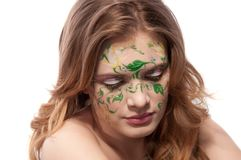 Portrait of a redhear girl witn faceart Stock Photo