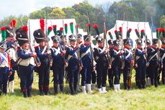 Portrait of reenactors dressed as Napoleonic war French soldiers Royalty Free Stock Images