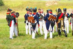 Portrait of reenactors dressed as Napoleonic war French soldiers Stock Photography