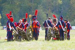 Portrait of reenactors dressed as Napoleonic war French soldiers Royalty Free Stock Image
