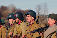 Portrait of a reenactors dressed as WW II Russian soldiers Royalty Free Stock Image
