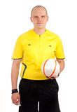 Portrait of a referee holdin a ball Royalty Free Stock Images