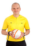Portrait of a referee holdin a ball Stock Photography