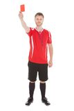 Portrait of referee showing red card Stock Photo
