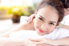 Portrait relaxed beautiful woman. Charming beautiful woman feel royalty free stock image
