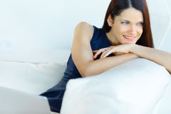 Portrait of Relaxed Business Woman at Office Stock Photo