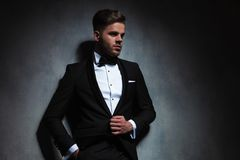 Portrait of relaxed stylish man in tuxedo looking to side stock image