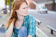 Portrait of a Relaxed Woman in a City Royalty Free Stock Images