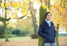 Portrait of a relaxed young man smiling outdoors Royalty Free Stock Images