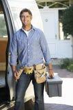 Portrait Of Repairman Arriving In Van Stock Photography