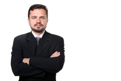 Portrait of a representative business man. Portrait of a confident mature caucasian business man with hands folded on white background stock photos
