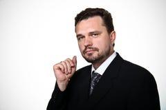 Portrait of a representative business man. Portrait of a confident mature Caucasian business man on white background stock image