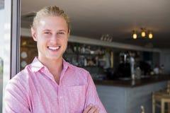 Portrait of restaurant manager. In restaurant Stock Images