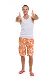 Portrait of resting on vacation smiling guy Stock Photography