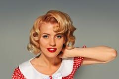Portrait retro blonde pinup woman Royalty Free Stock Photos