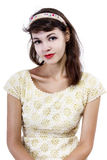 Portrait of a Retro Girl on a White Background Royalty Free Stock Images