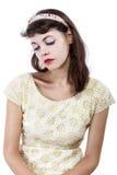 Portrait of a Retro Girl on a White Background Stock Photos