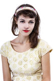 Portrait of a Retro Girl on a White Background Stock Images