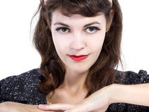 Portrait of a Retro Girl on a White Background Royalty Free Stock Photo