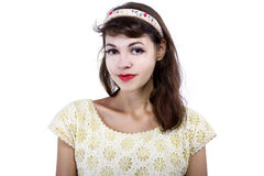 Portrait of a Retro Girl on a White Background Royalty Free Stock Photography