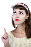 Portrait of a Retro Girl on a White Background Royalty Free Stock Photos