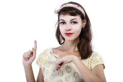 Portrait of a Retro Girl on a White Background Stock Photo
