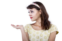 Portrait of a Retro Girl on a White Background Stock Image