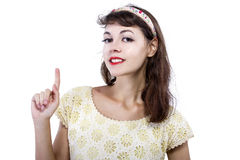Portrait of a Retro Girl on a White Background Stock Photos