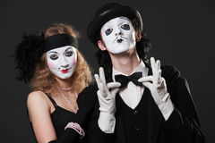 Portrait of retro mimes royalty free stock image
