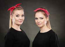 Portrait of retro pin up girls in red handkerchief. Royalty Free Stock Image