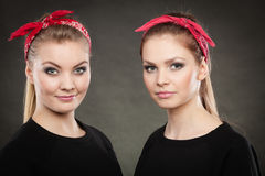 Portrait of retro pin up girls in red handkerchief. Royalty Free Stock Photography